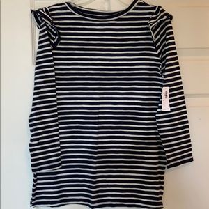 Navy and white 3/4 sleeve Old Navy shirt